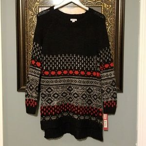 Merona long pull over black sweater NWT AM A114:4: